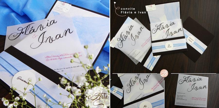Nosso convite de casamento: aquarela e transparência