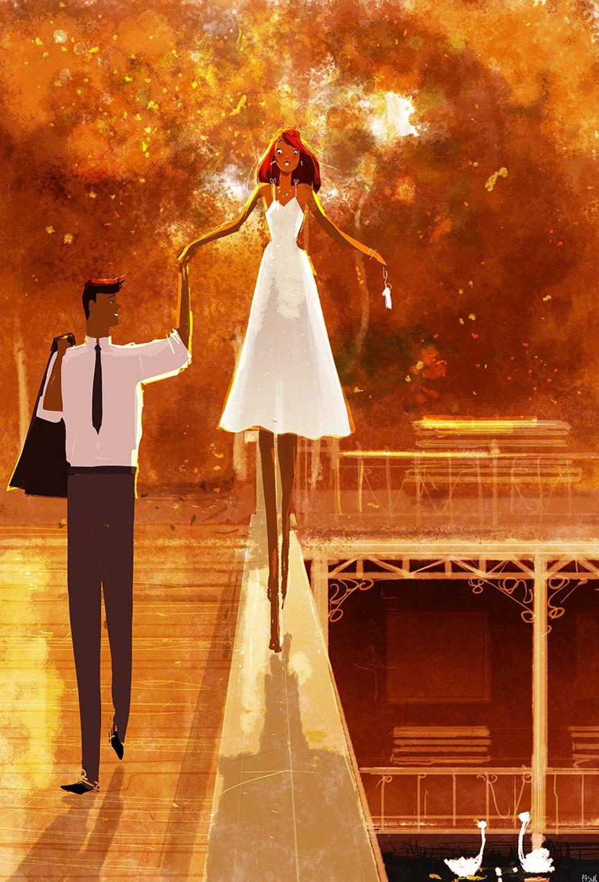 Casal e lindas cores no projeto Uma ilustração por Dia