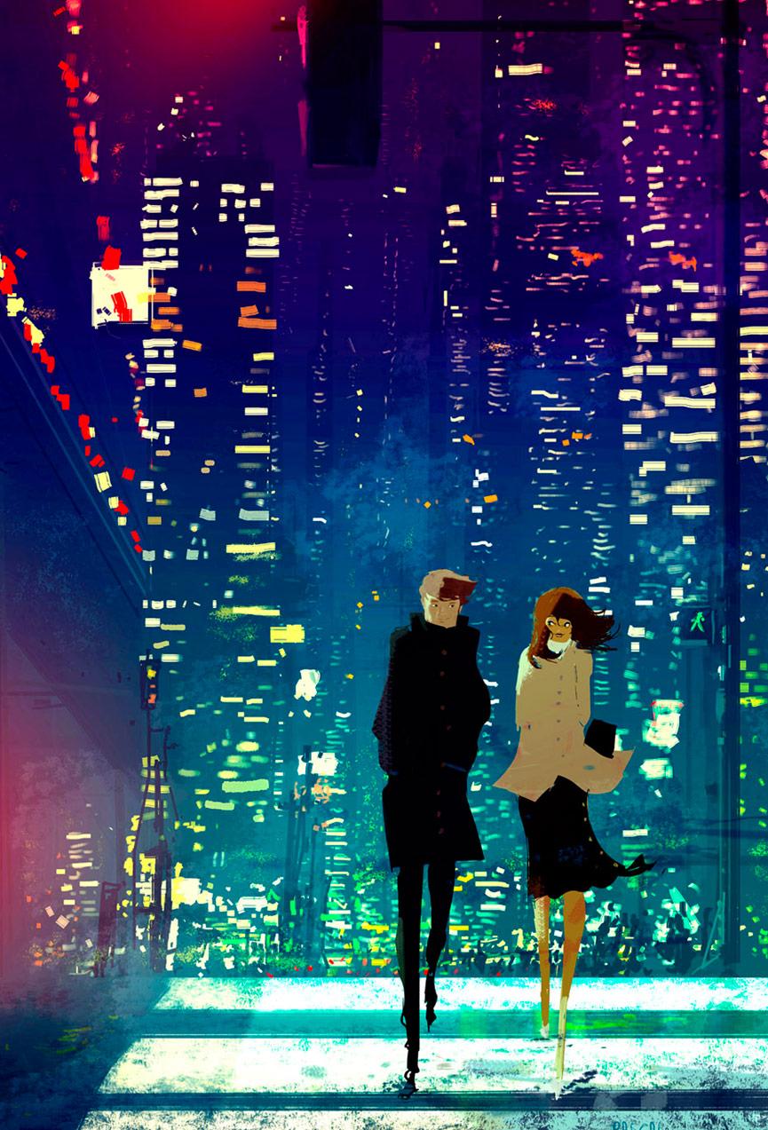 Casal caminha pela cidade à noite