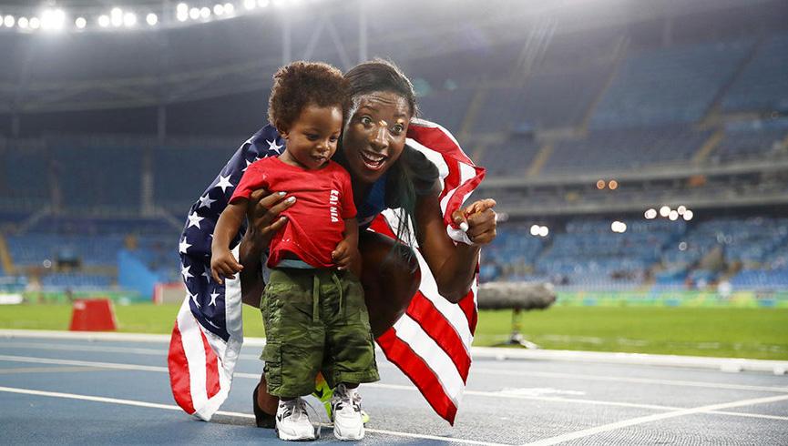 Comemorando com o filho - Rio 2016