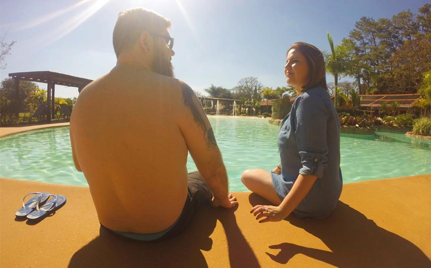 Na piscina do Santa Clara