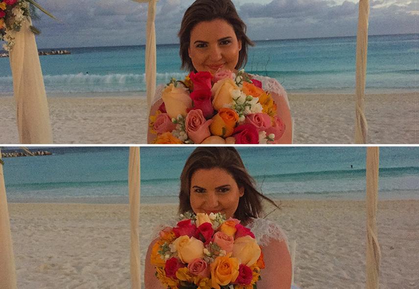 Buquê na praia em Cancun