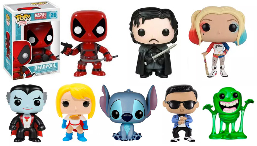 Bonecos Funko Pop - Harlequina, Jon Snow, Deadpool