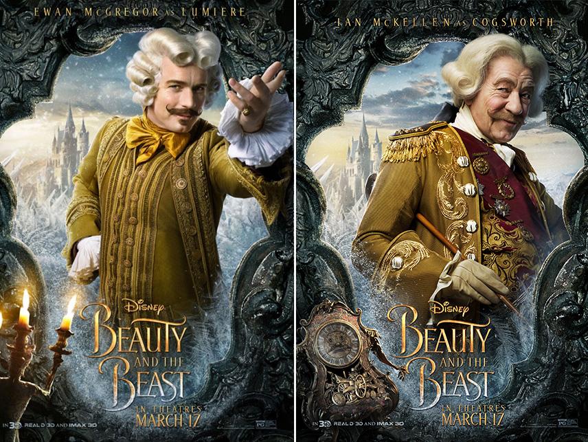 Lumiere e Cogsworth interpretados por Ewan McGregor e Ian McKellen