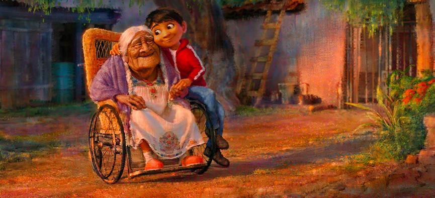 Miguel e vovó no novo filme da Pixar, Coco